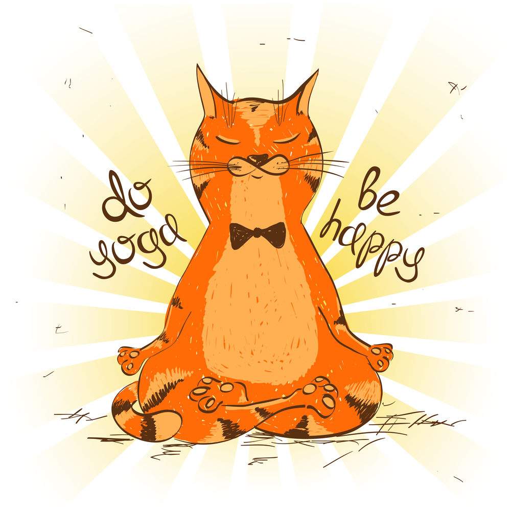 Funny illustration with cartoon red cat sitting on lotus position of yoga.